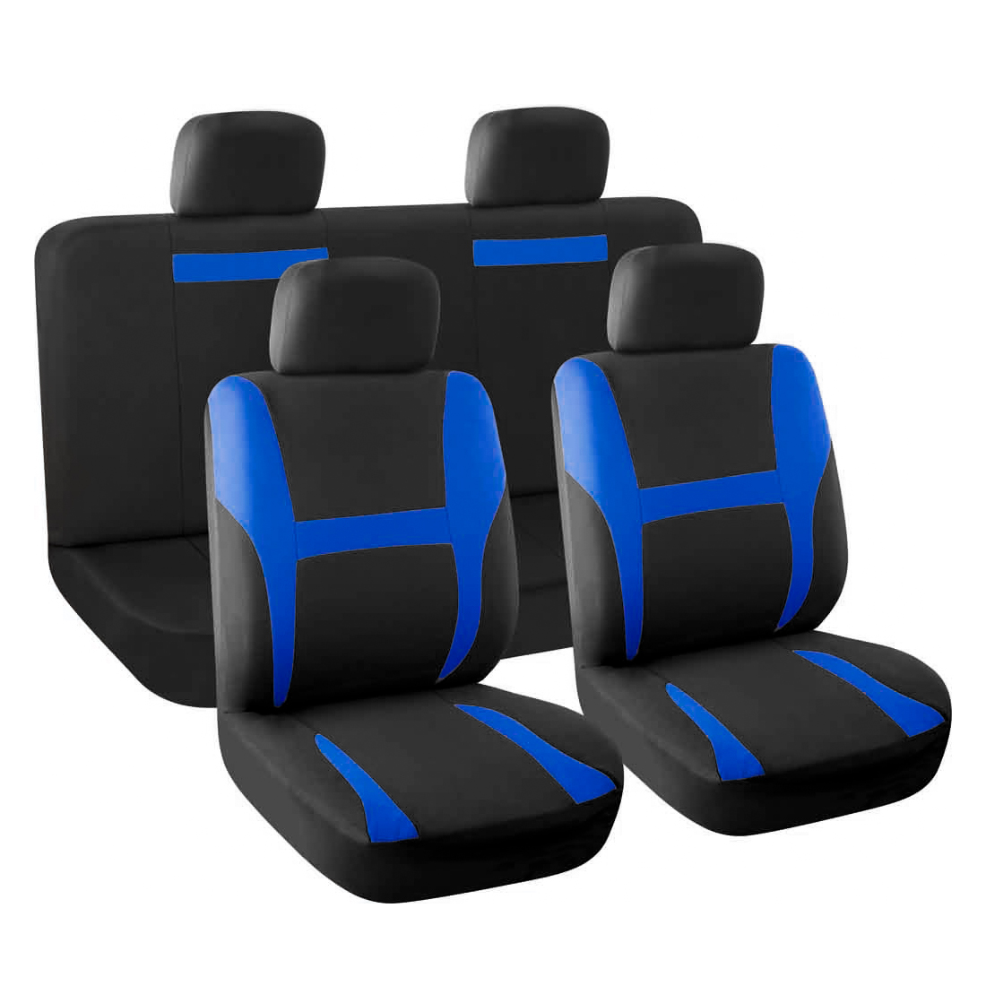 New Car Seat Covers Full Set Blue Black for Auto SUV w/Head Rests