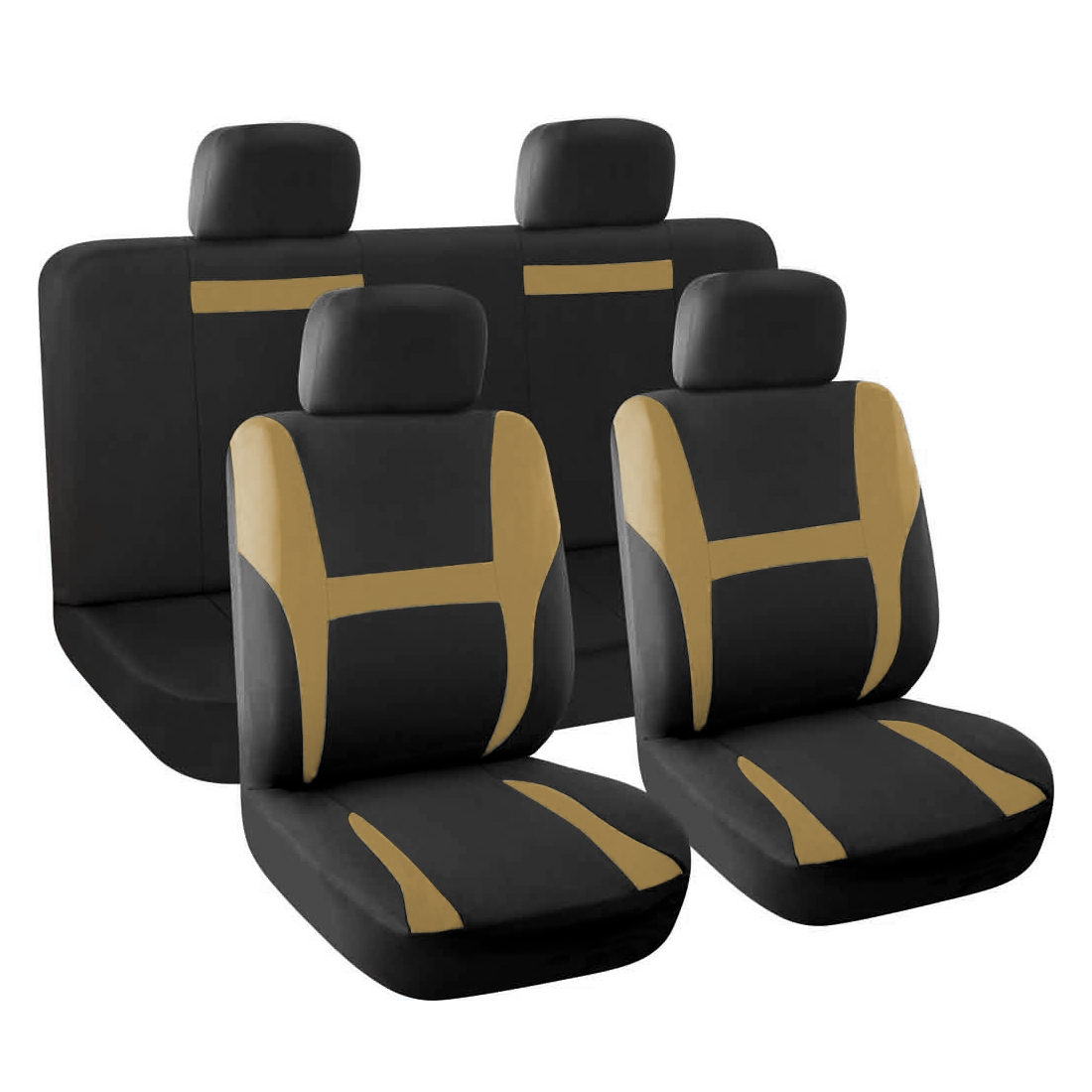 New Car Seat Covers Full Set Beige Black for Auto SUV w/Head Rests