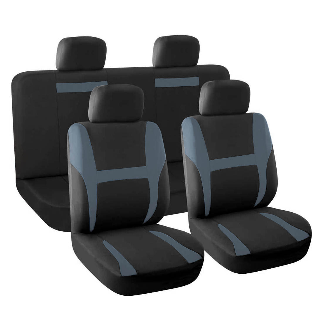 New Car Seat Covers Full Set Gray Black for Auto SUV w/Head Rests
