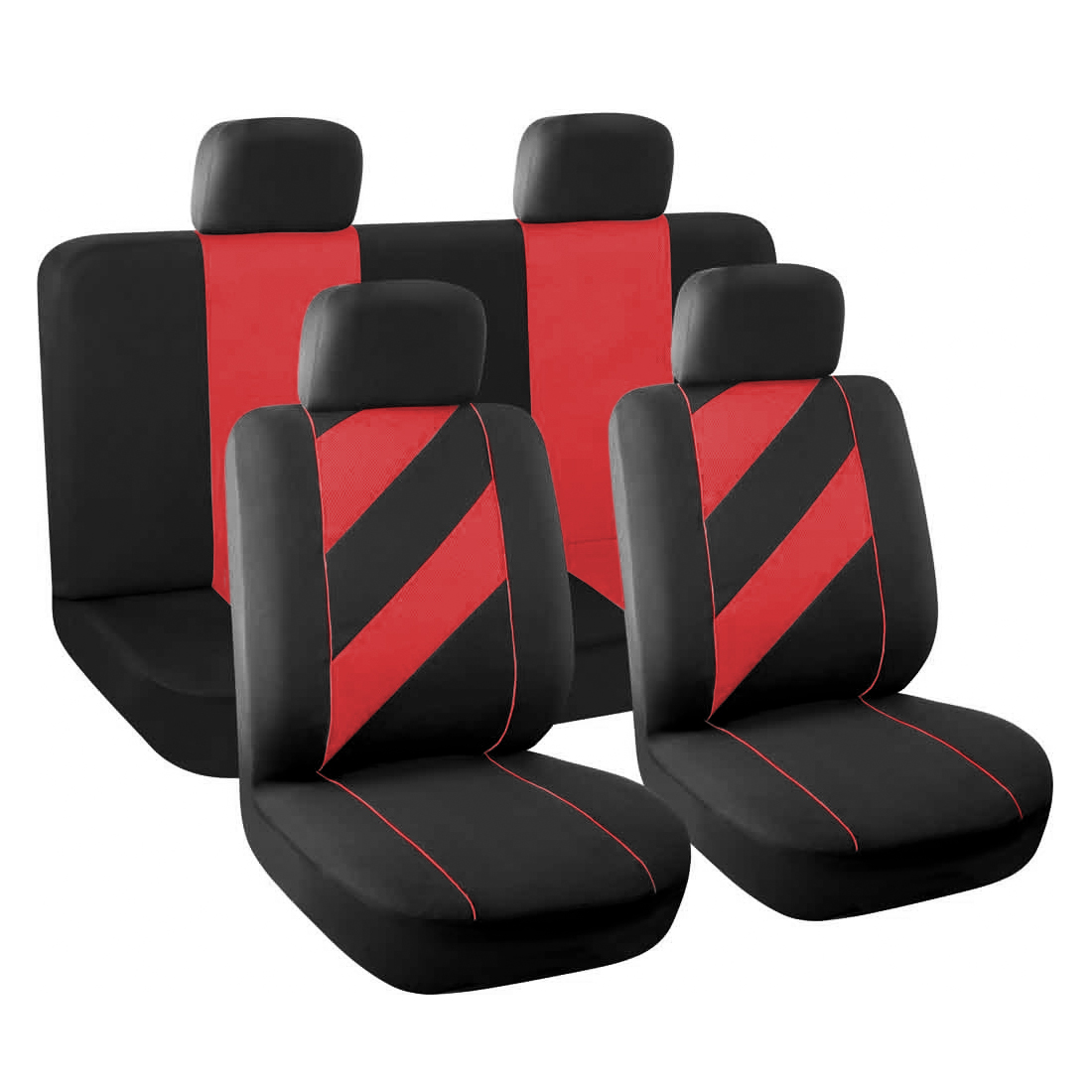 8 Piece x Unique Flat Cloth Auto Car Seat Cover Headrests Full set Red