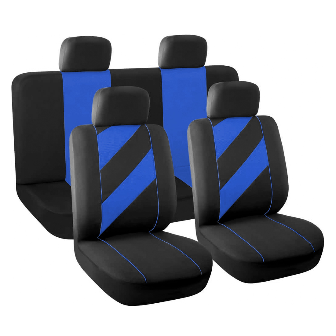 8 Piece Unique Flat Cloth Auto Car Seat Cover Headrests Full set Blue Black