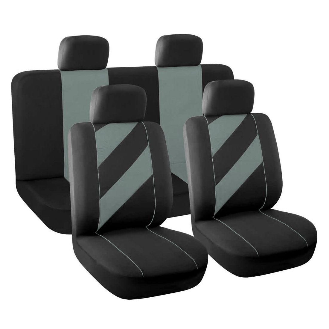 8 Piece x Unique Flat Cloth Auto Car Seat Cover Headrests Full set Gray Black