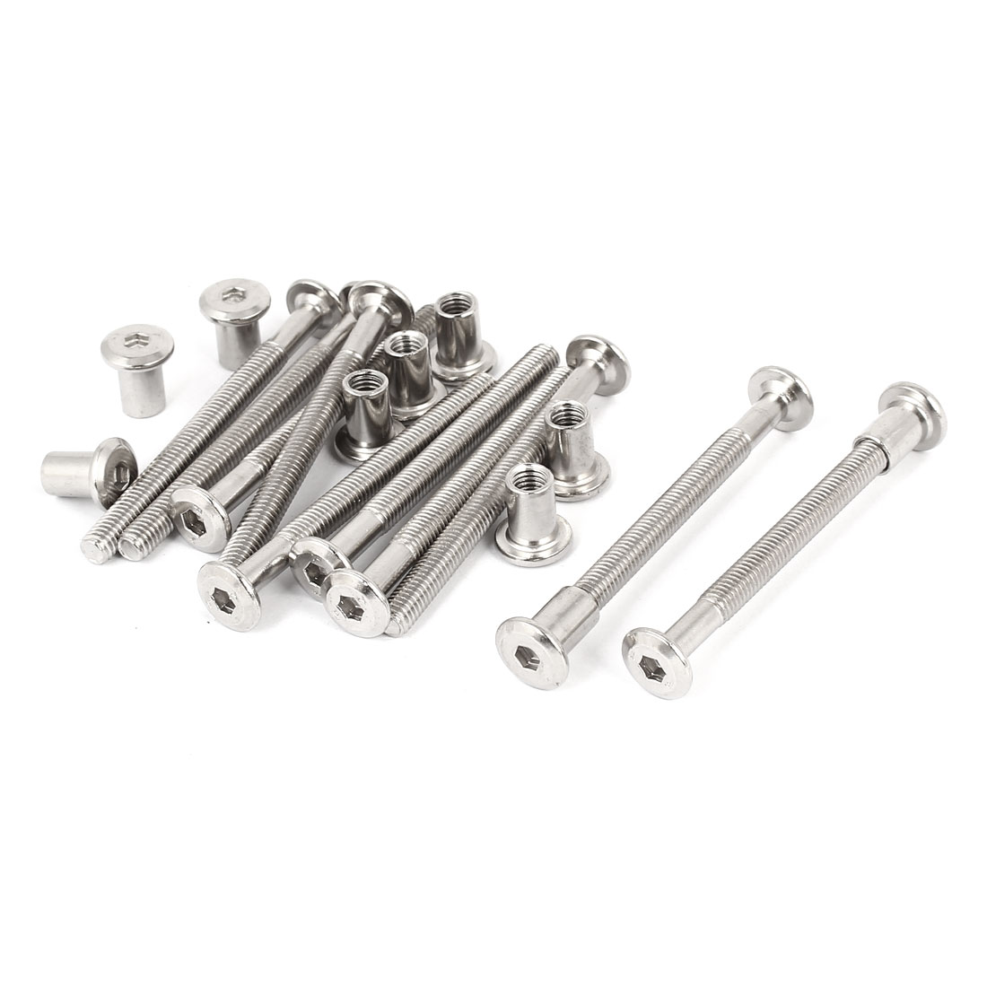 M6 x 70mm Hex Socket Head Barrel Nut Countersunk Screw Bolt Fasteners 10 Sets