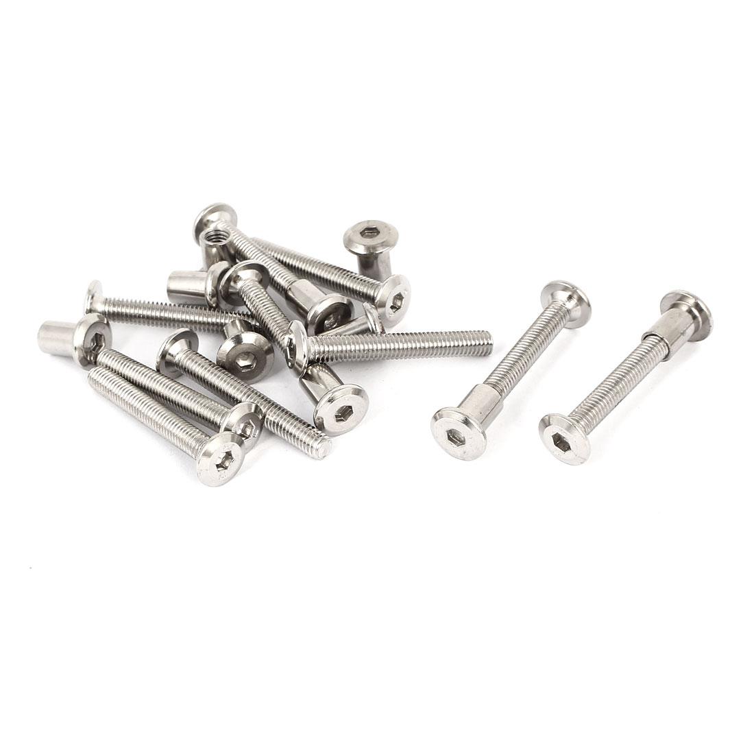 M6 x 45mm Hex Socket Head Barrel Nut Countersunk Screw Bolt Fasteners 10 Sets