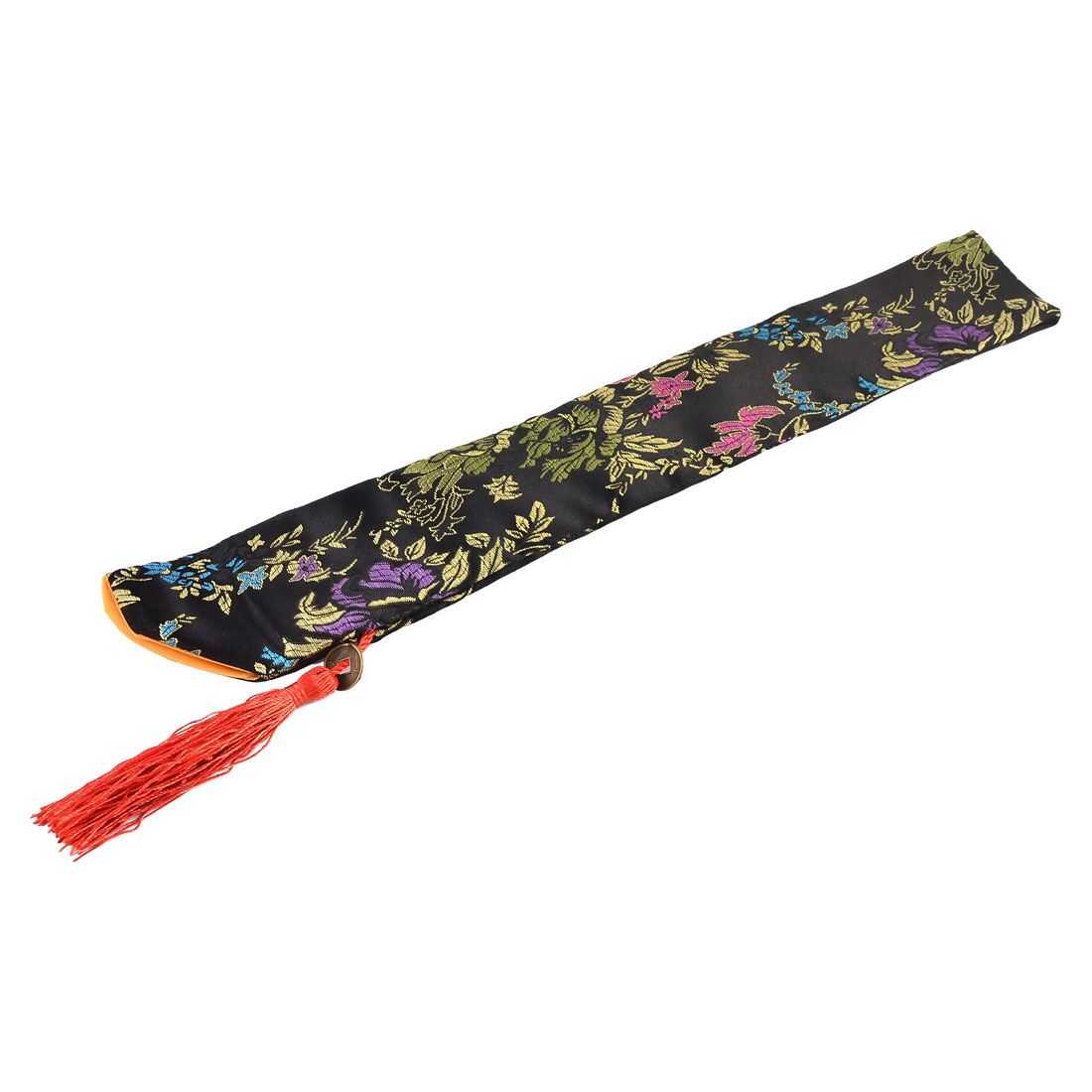 Chinese Classic Style Silk Blend Floral Pattern Folding Hand Fan Fabric Sleeve Pouch Cover Bag