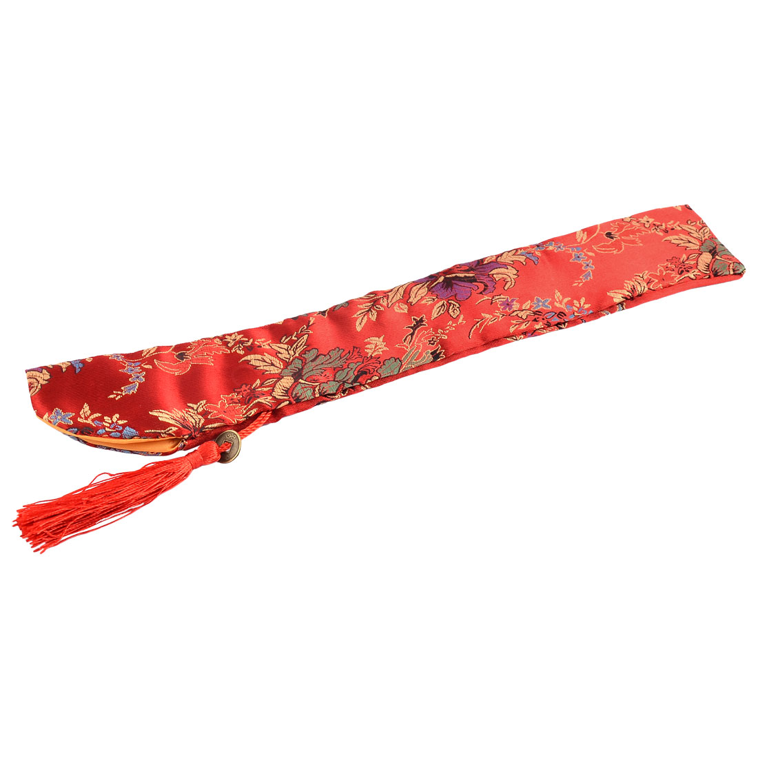 Chinese Classic Style Silk Blend Floral Pattern Folding Hand Fan Fabric Sleeve Pouch Cover Case