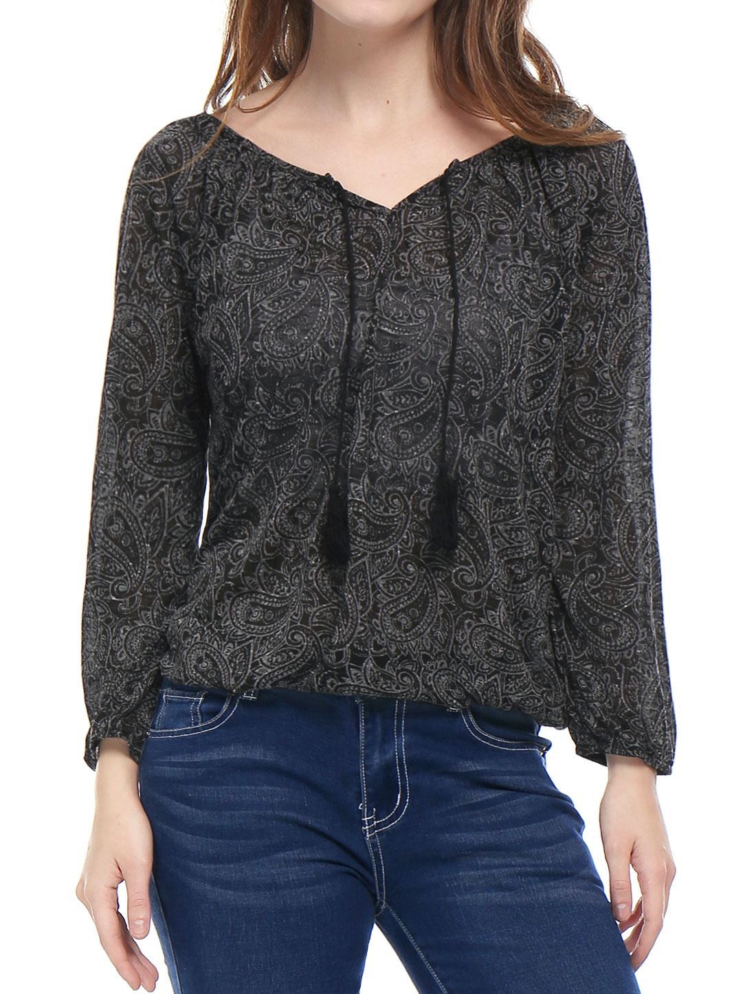 Allegra K Woman Paisley Pattern Jacquard Tasseled Ties Peasant Blouse Black XL