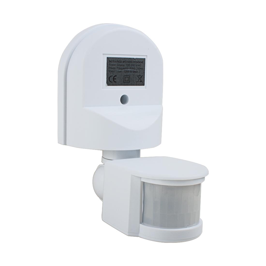 AC 110V-240V Outdoor Adjustable Infrared Body Motion PIR Sensor Detector Switch White