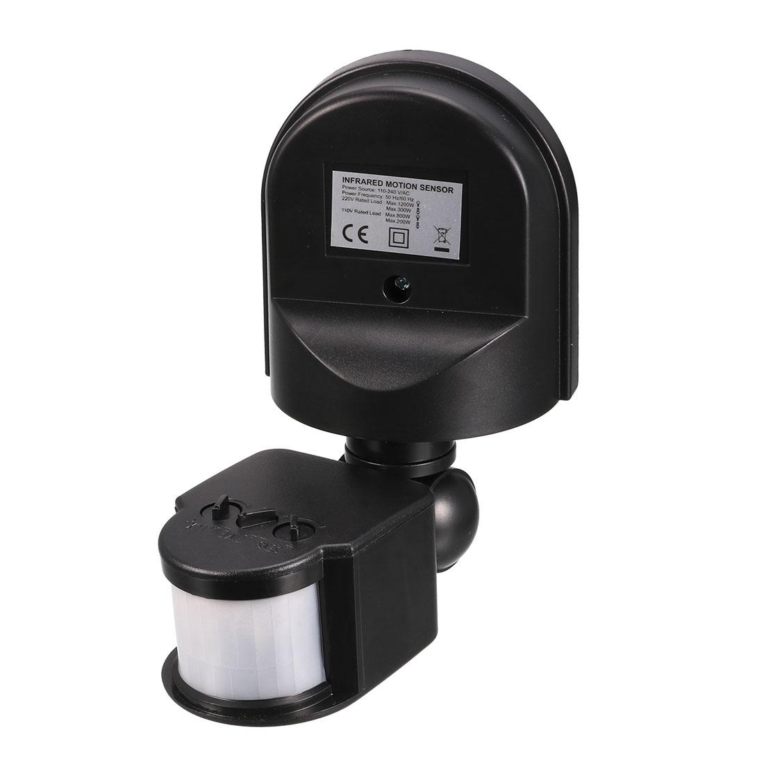 AC 110V-240V Outdoor Adjustable Infrared Body Motion PIR Sensor Detector Switch Black