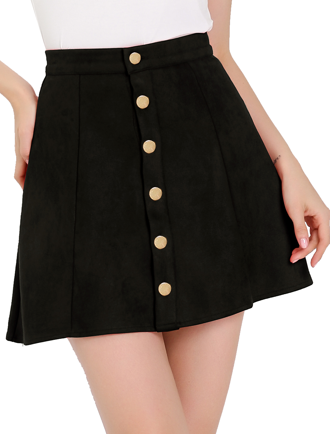 Woman Button Closure Front Mid Rise Mini A-Line Skirt Black L