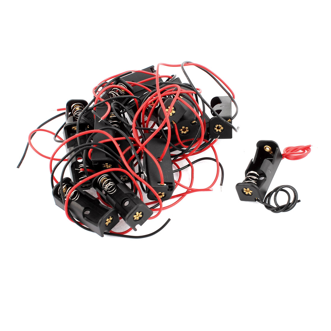 16 Pcs 12V 23A Battery Cell Case Wire Holder Black Plastic 35 x 13 x 12mm