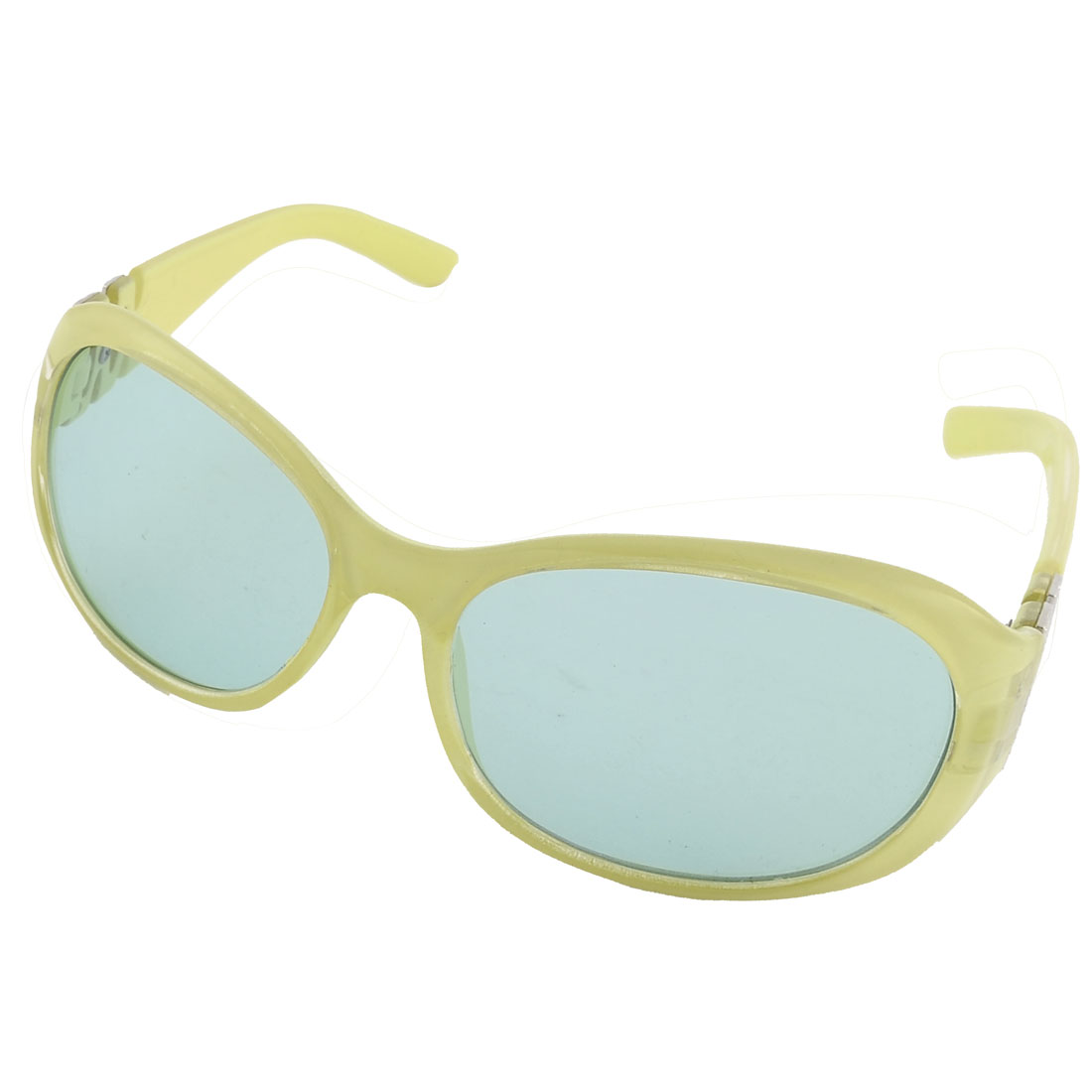 Women Plastic Full Rim Single Bridge Lens Eyewear Sunglasses Green Yellow