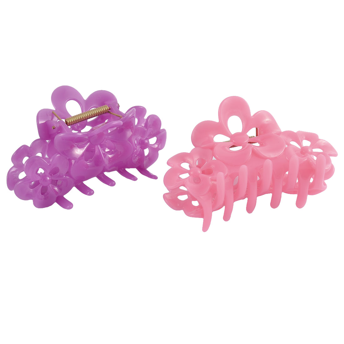 Home Bath Woman Lady Plastic Floral Shaped Spring Loaded Hairclip Clamp Claw 2 Pcs