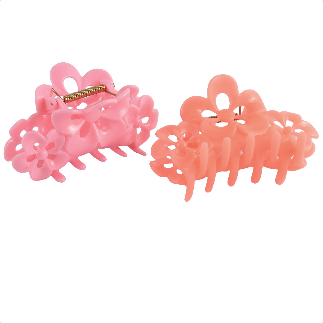 Home Woman Lady Plastic Flower Shaped Stylish Spring Loaded Hairclip Clamp Claw 2 Pcs