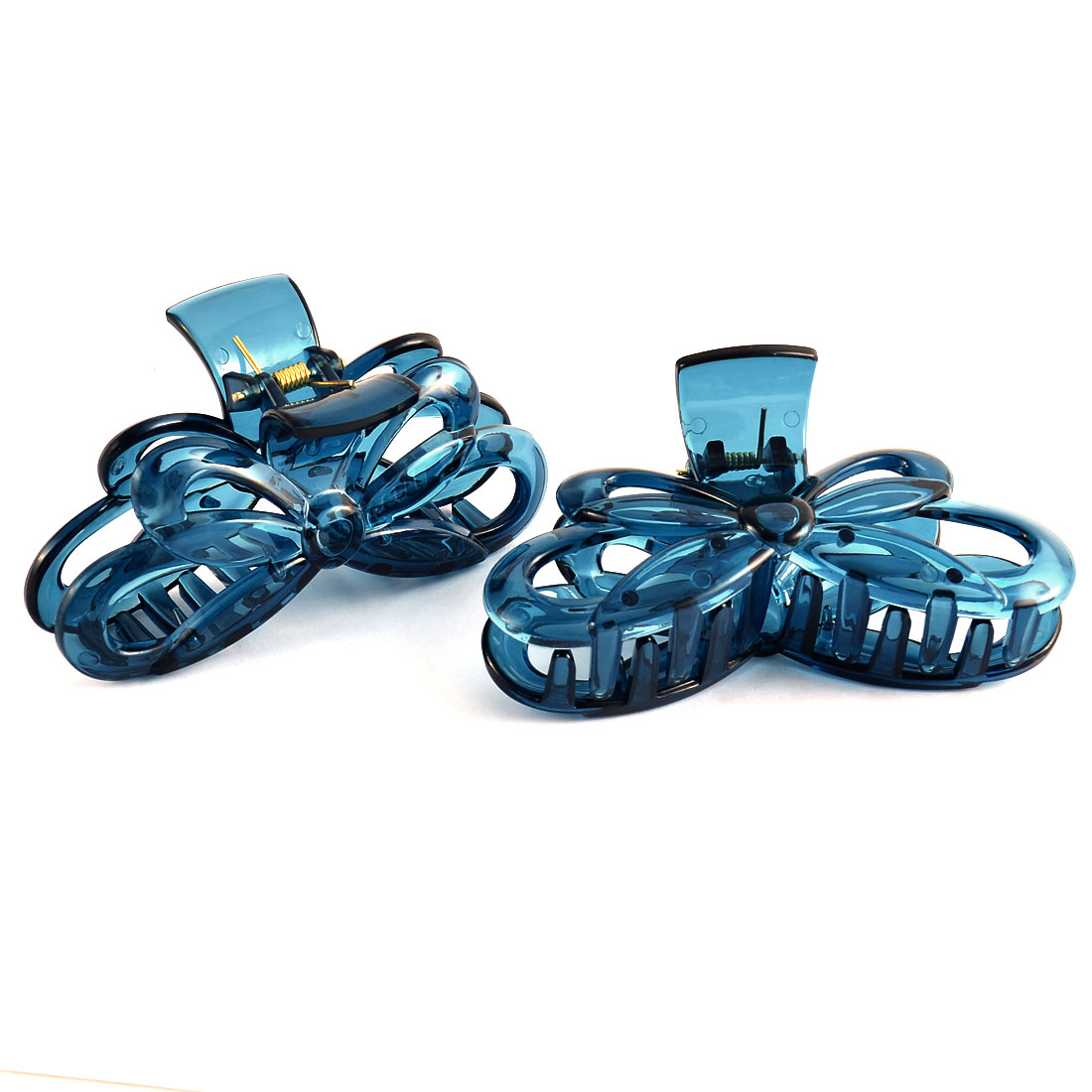 Home Bath Woman Lady Plastic Butterfly Shaped Spring Loaded Hairclip Clamp Claw Blue 2 Pcs