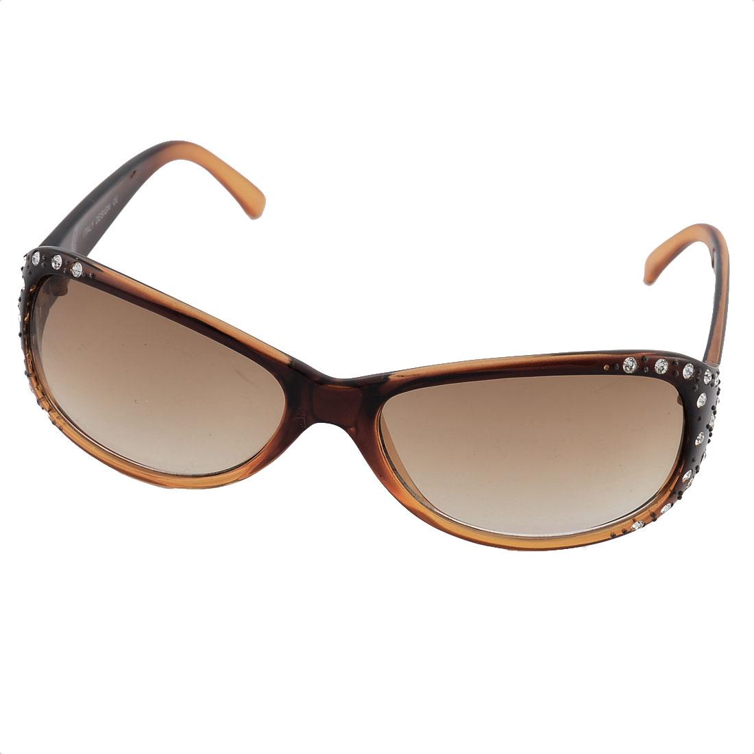Women Rhinestone Inlaid Full Rim Single Bridge Lens Outdoor Driving Sunglasses
