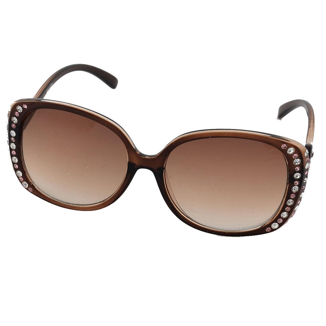 Rhinestone Inlaid Full Rim Single Bridge Lens Eye Protector Eyewear Sunglasses
