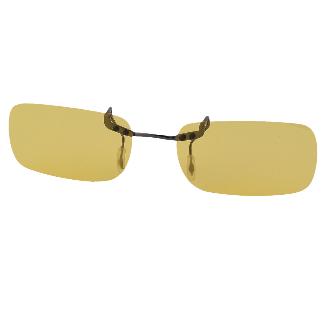 Plastic Rimless Lens Clip On Polarized Sunglasses Glasses Black Clear Yellow
