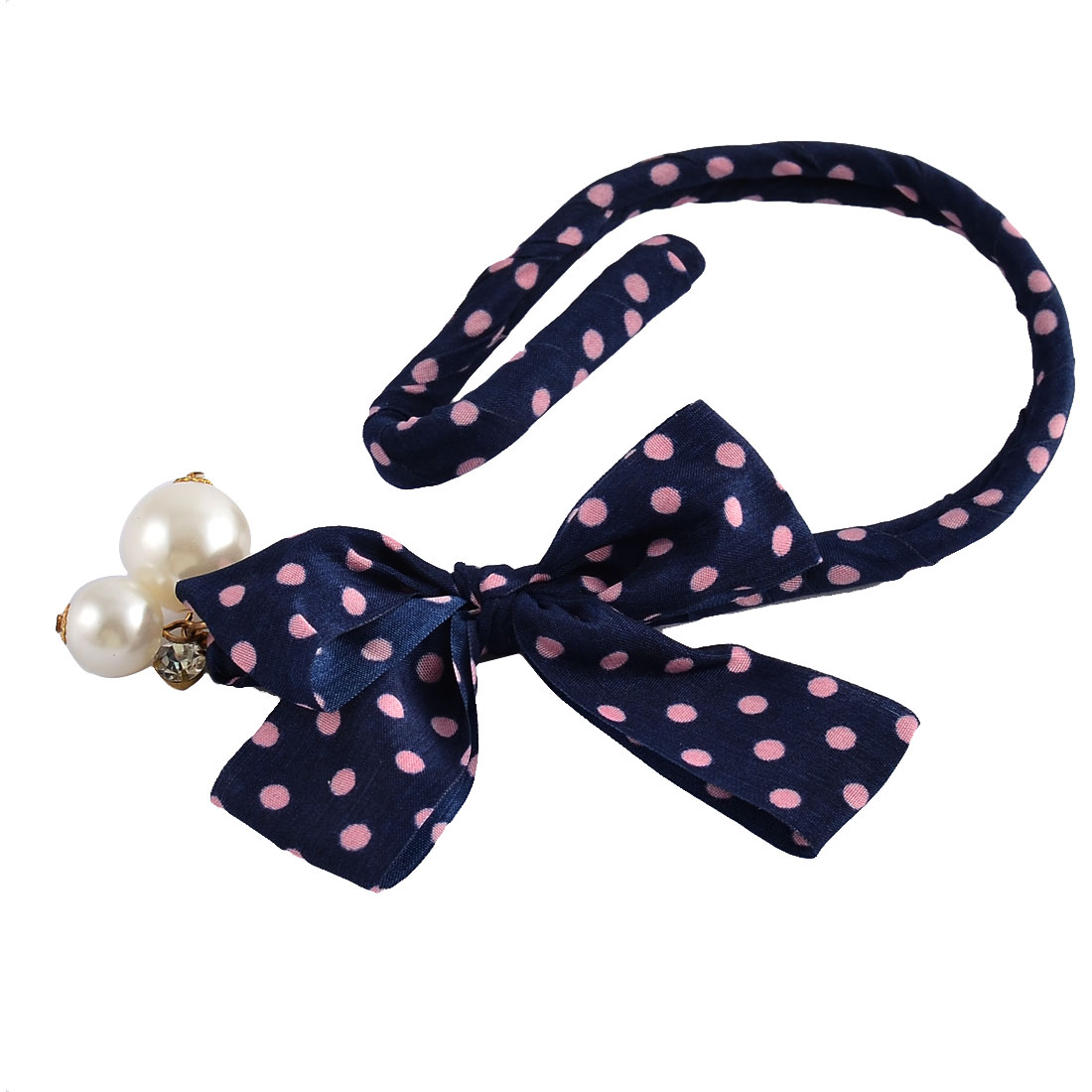 Bowknot Rhinestone Man-made Imitation Pearl Decor Hair Styling Ponytail Bun Holder Maker