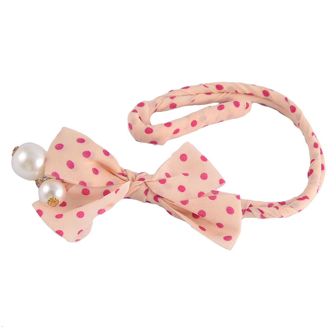 Dot Bowknot Imitation Pearl Decor Ponytail Bun Holder Maker Light Pink Fuchsia