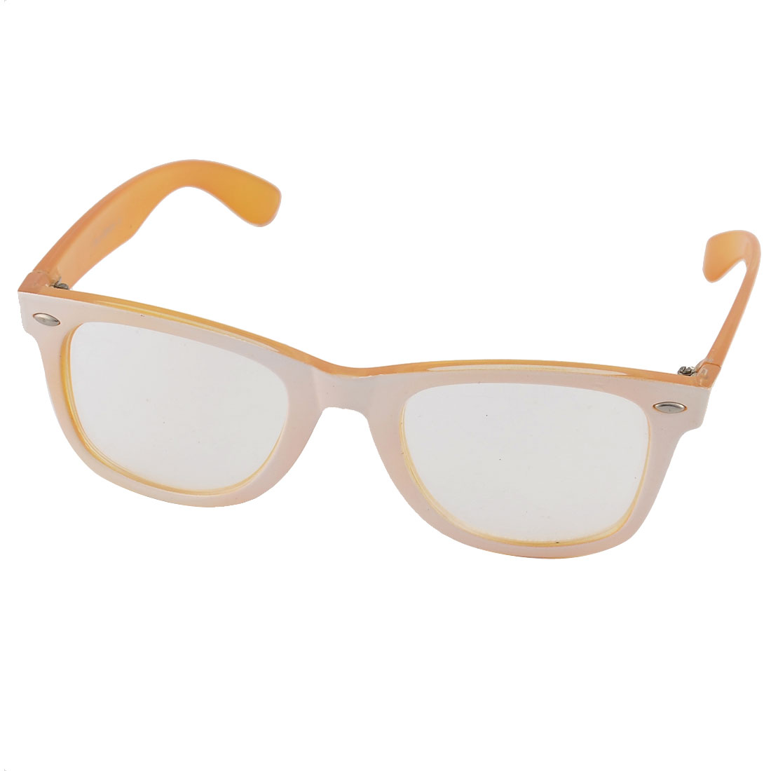 Women Man Plastic Full Rim Single Bridge Lens Eyewear Plain Glasses Spectacles