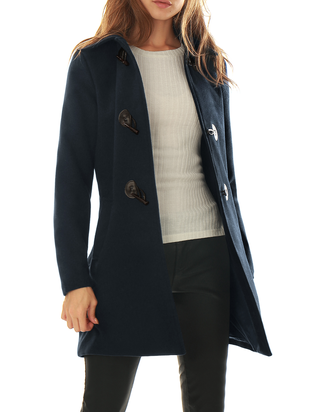 Women Turn Down Collar Slant Pockets Worsted Toggle Coat Blue XL
