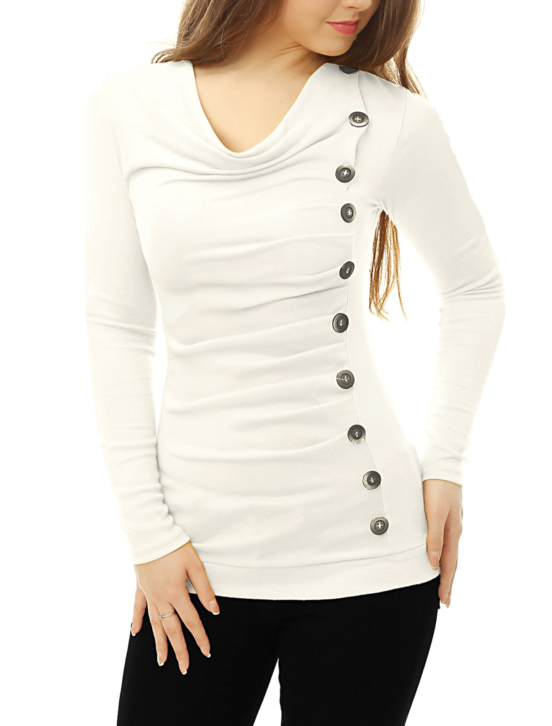 Women Cowl Neck Long Sleeves Buttons Decor Ruched Top White L