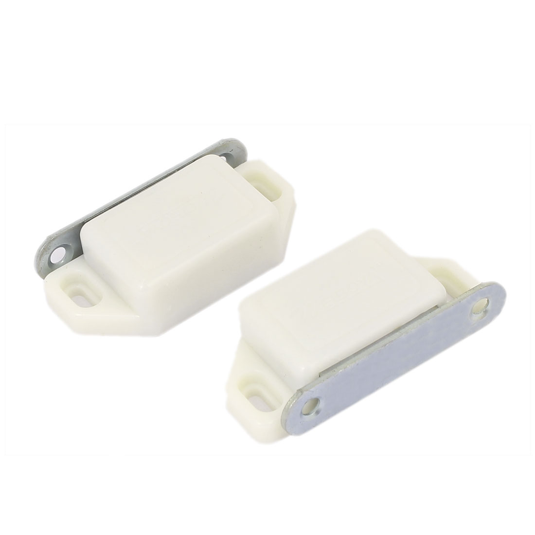 Cabinet Cupboard Plastic Shell Metal Plate Magnetic Catch Touch Latch White 57mmx27mm 2pcs