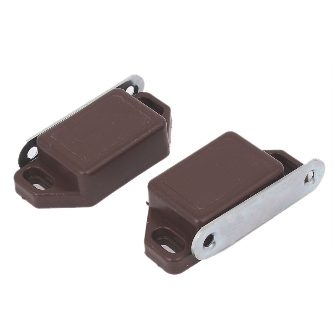 Cabinet Cupboard Plastic Shell Magnetic Catch Touch Latch Brown 57mmx27mm 2pcs