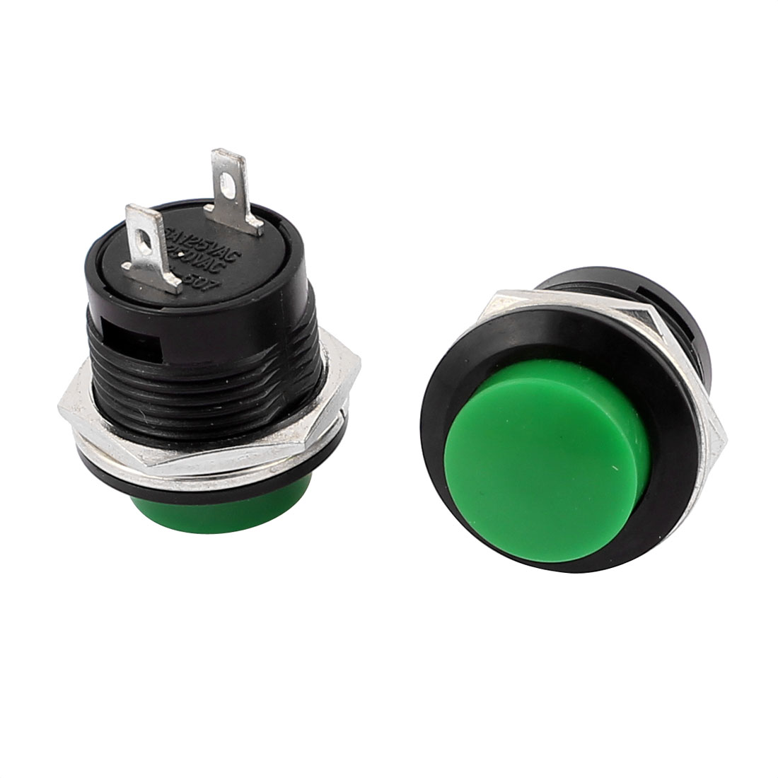 AC 250V 3A 125V 6A Green Round Cap Momentary Push Button Switch with Lamp 2 Pcs