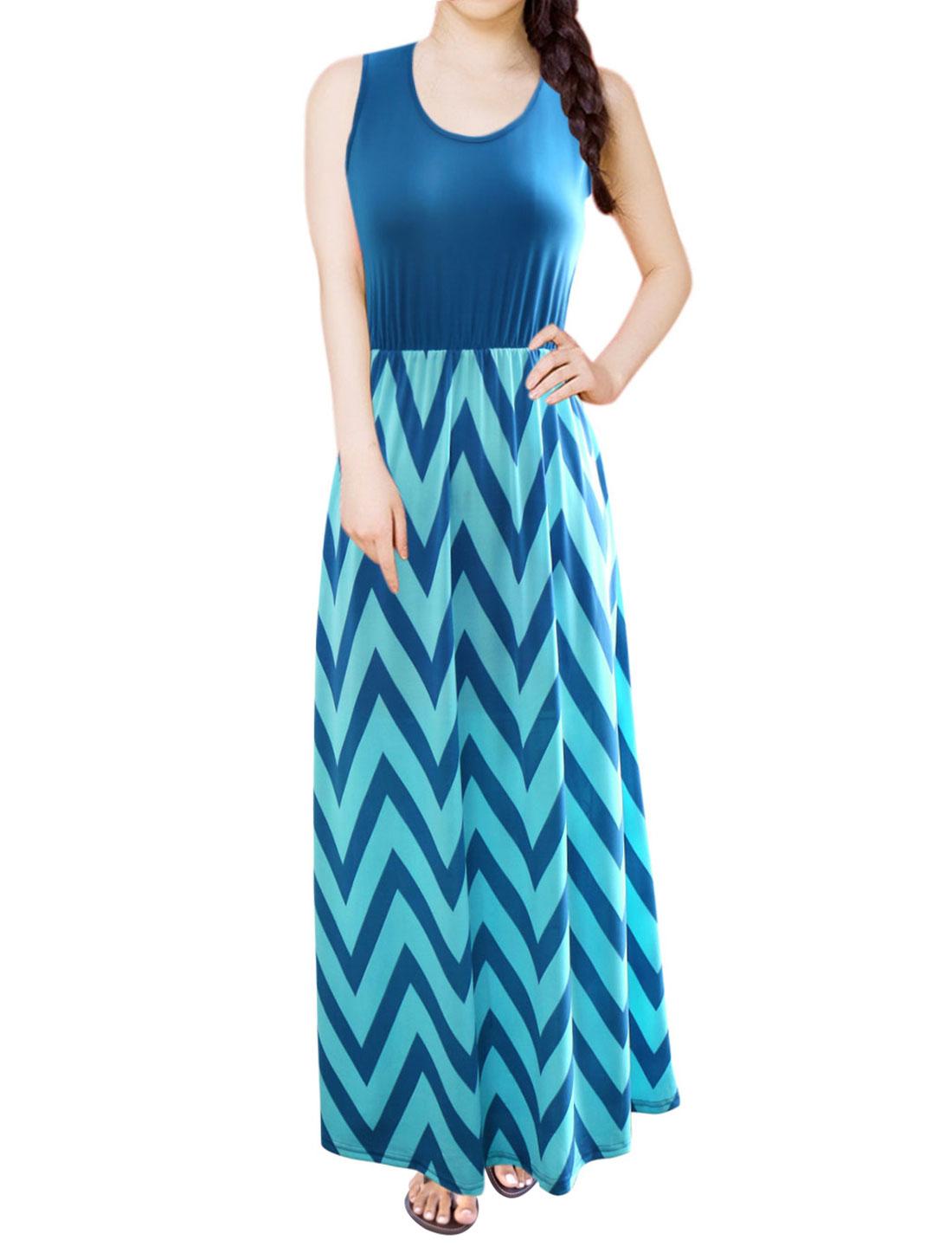 Women Sleeveless Empire Waist Chevron Maxi Dress Dark Blue L