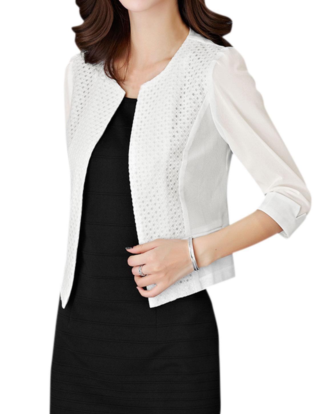 Women Paneled 3/4 Sleeve Front Opening Mesh Jacket White S
