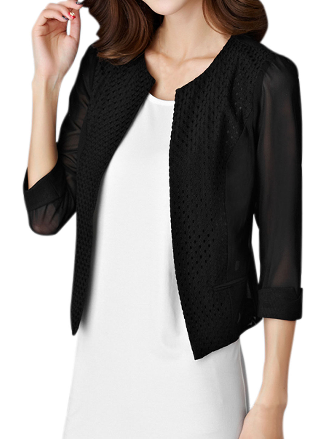 Women Paneled 3/4 Sleeve Front Opening Mesh Jacket Black S