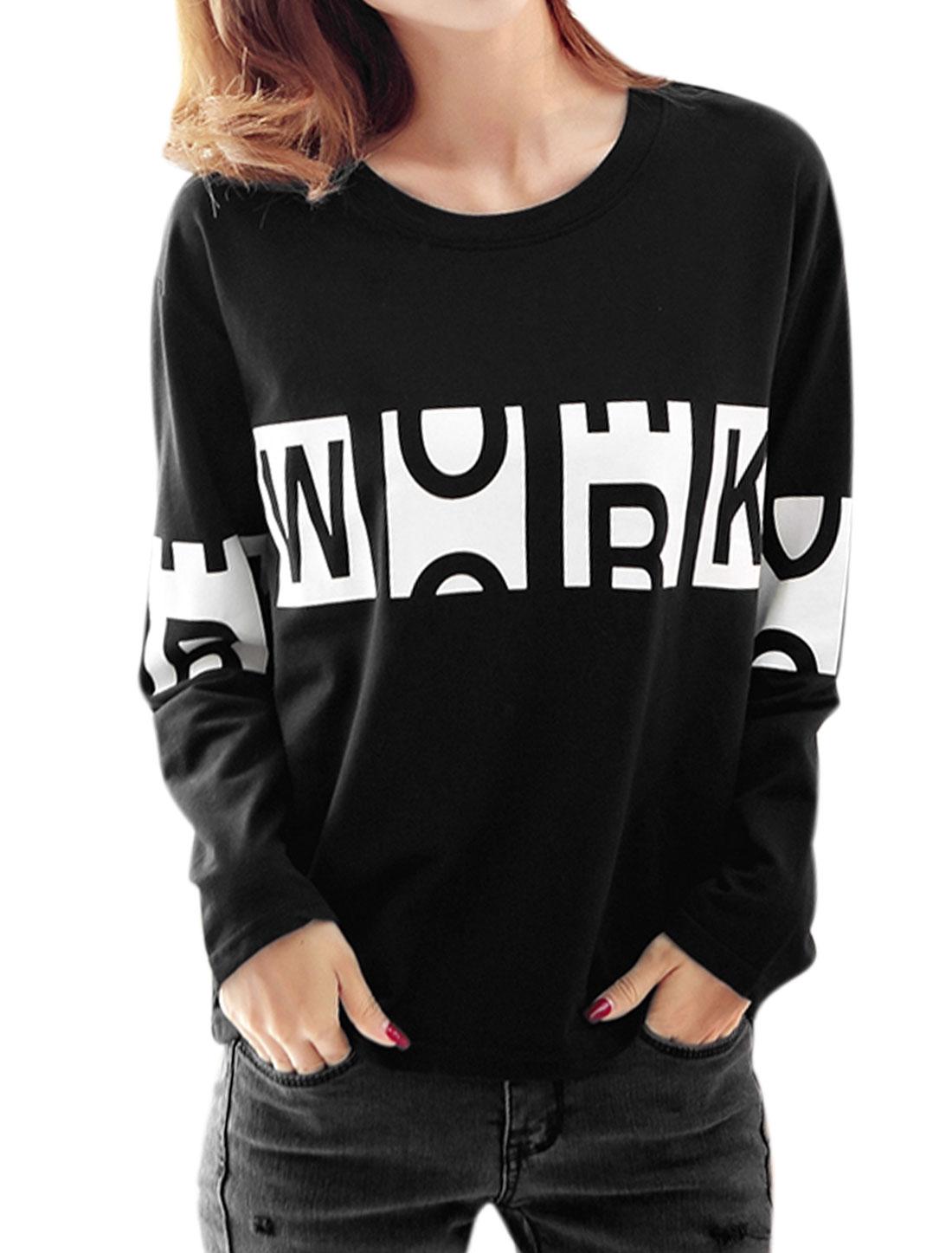 Women Round Neck Long Sleeves Letter Prints Loose Sweatshirt Black S