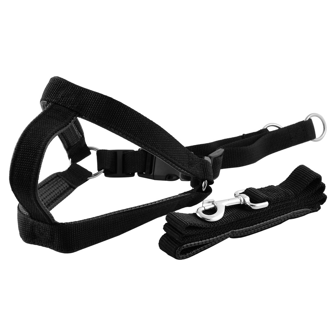 Pet Dog Puppy Nylon Adjustable Belt Band Release Buckle Harness Set Black