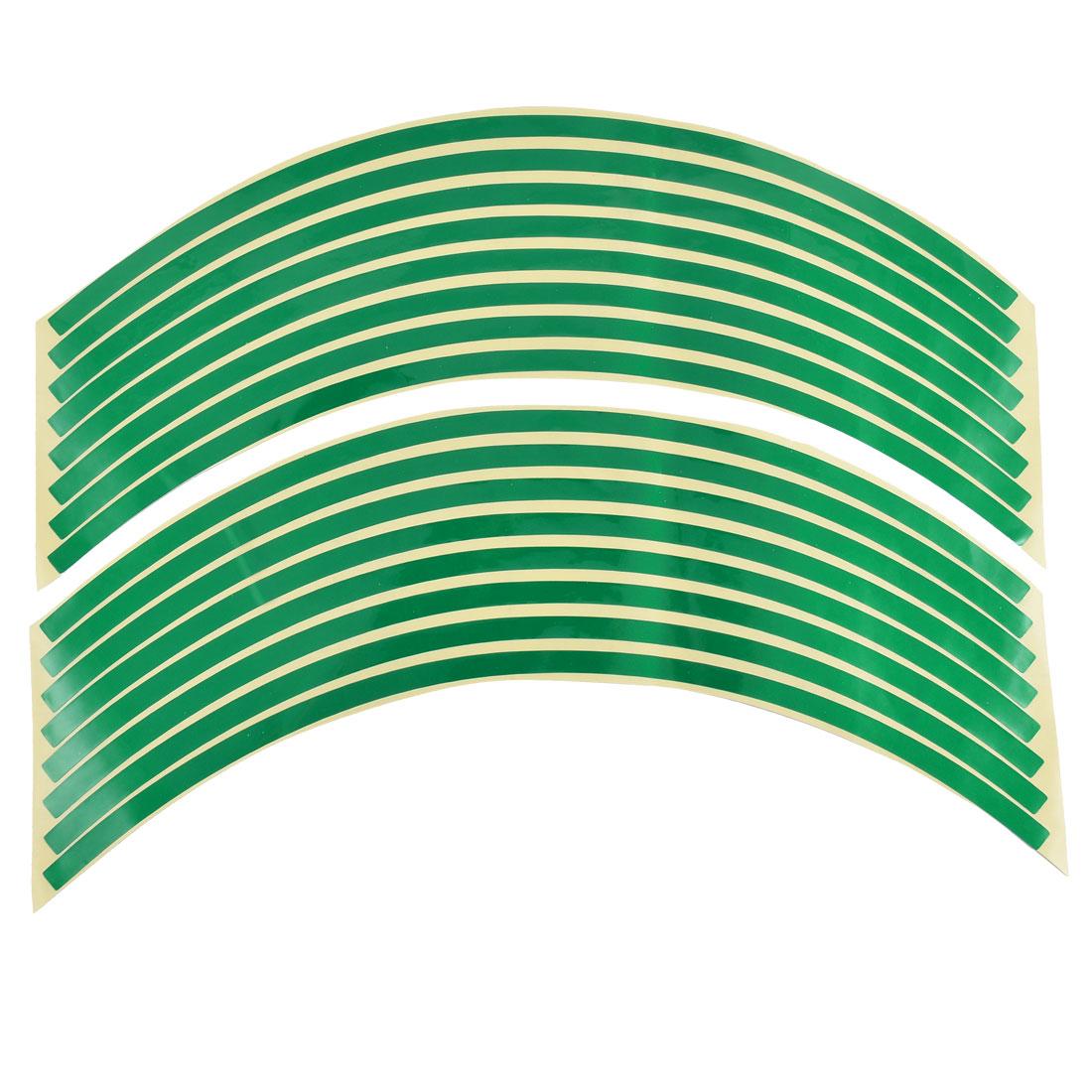 "Car Motorcycle Cycling Bike Bicycle Wheel Stripe Decal Trim Sticker Green 18"" Length 2 Pcs"