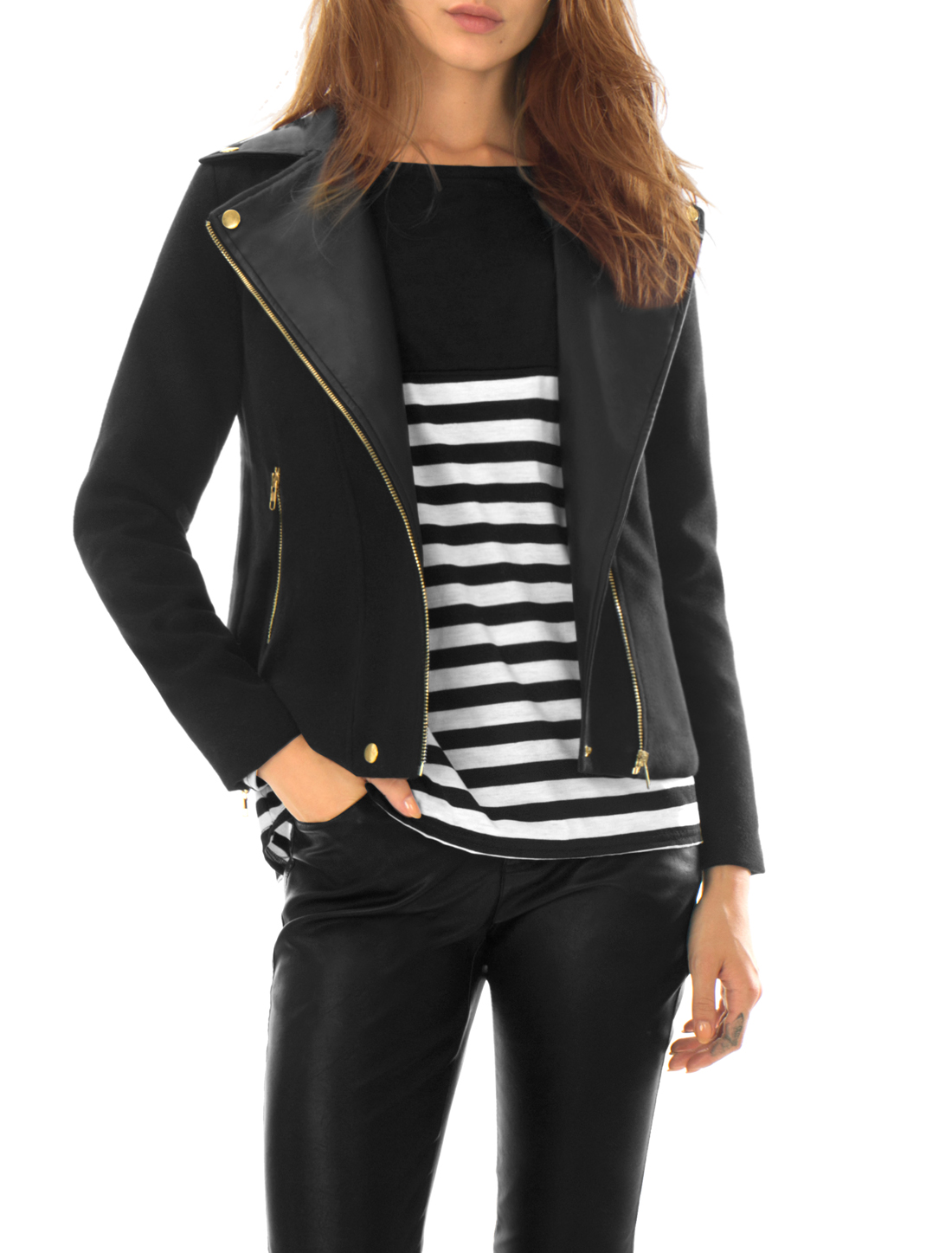 Women Asymmetrical Zipper Front PU Panel Worsted Jacket Black L
