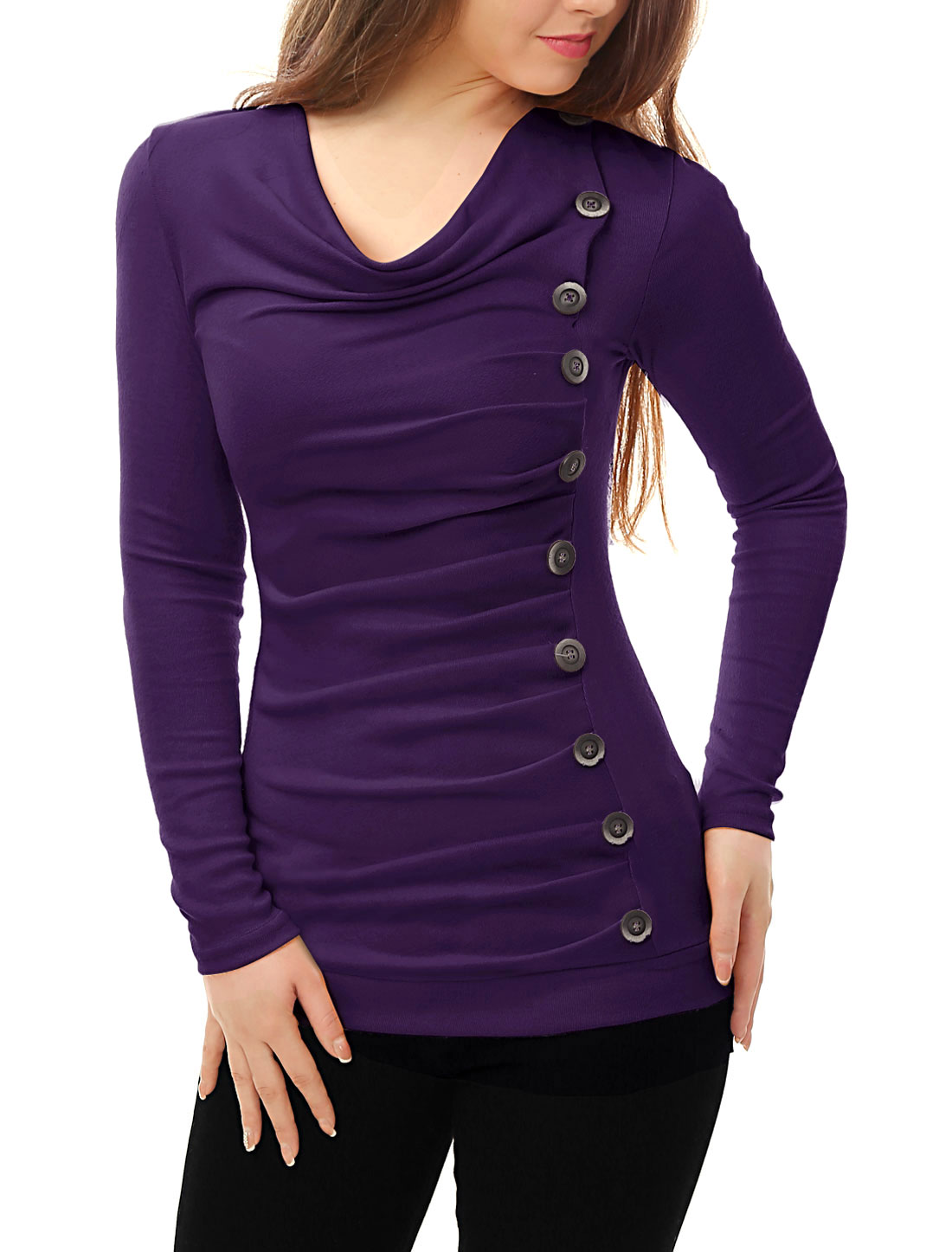 Women Cowl Neck Long Sleeves Buttons Decor Ruched Top Purple M