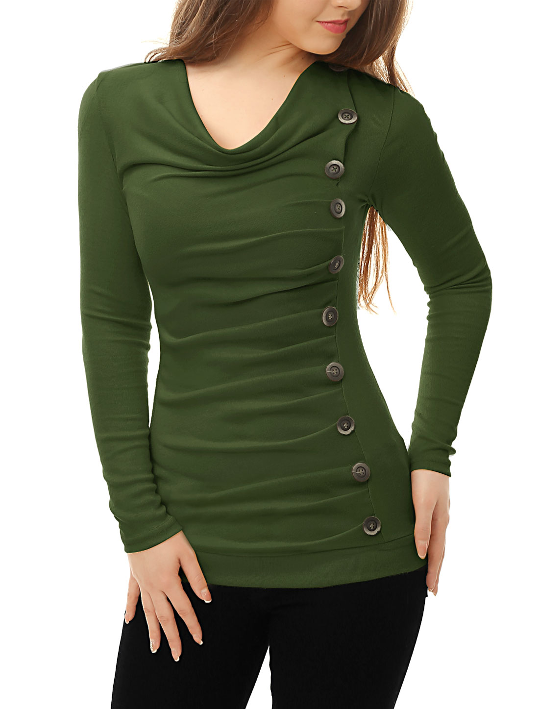Women Cowl Neck Long Sleeves Buttons Decor Ruched Top Green S