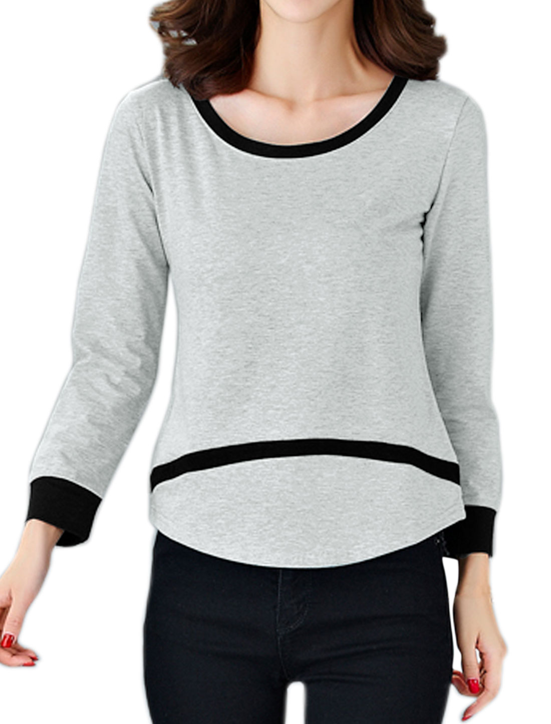 Women Long Sleeve Contrast Color Curved Hem T- Shirt Gray M