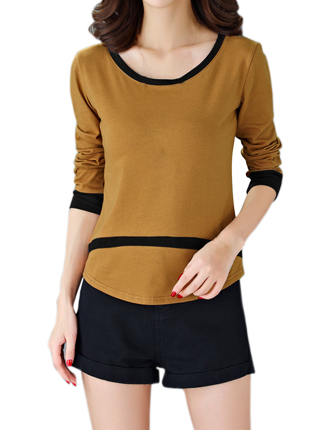 Women Scoop Contrast Color Curved Hem Tee Shirt Brown M