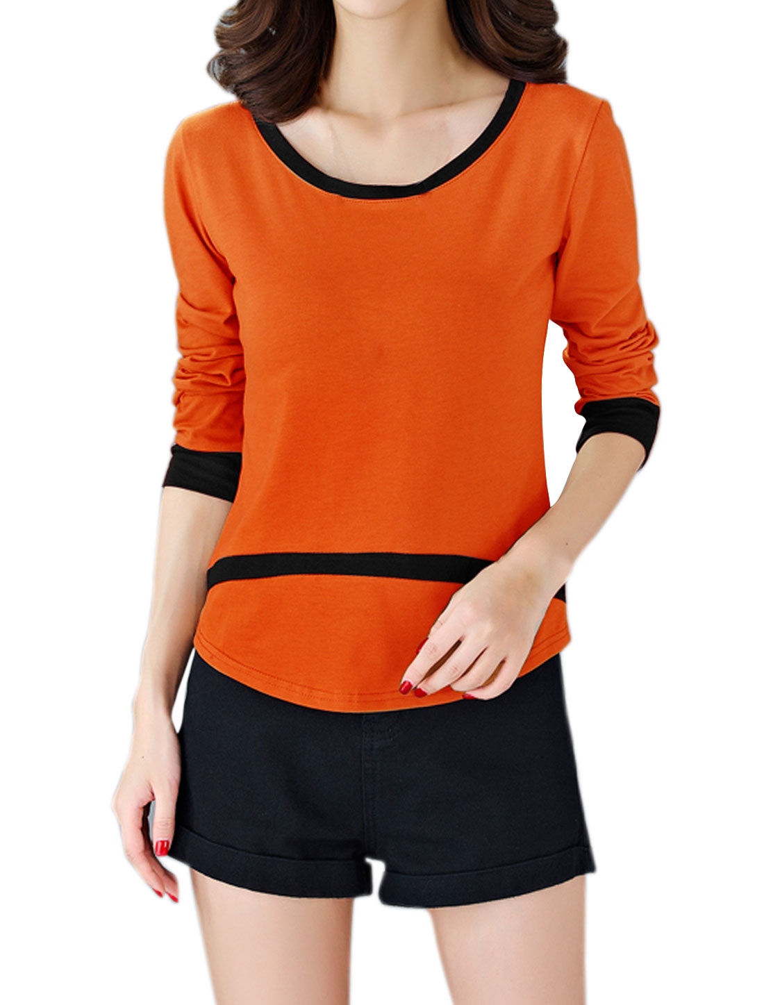 Women Long Sleeve Contrast Color Curved Hem Tee Orange M