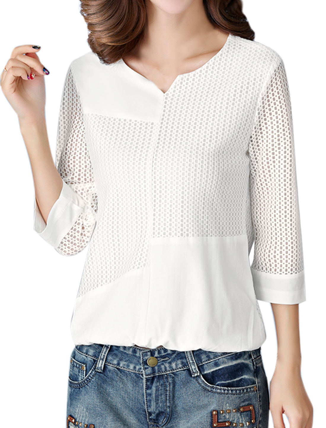 Women Split Neck 3/4 Sleeves Hollow Out Paneled Top White M