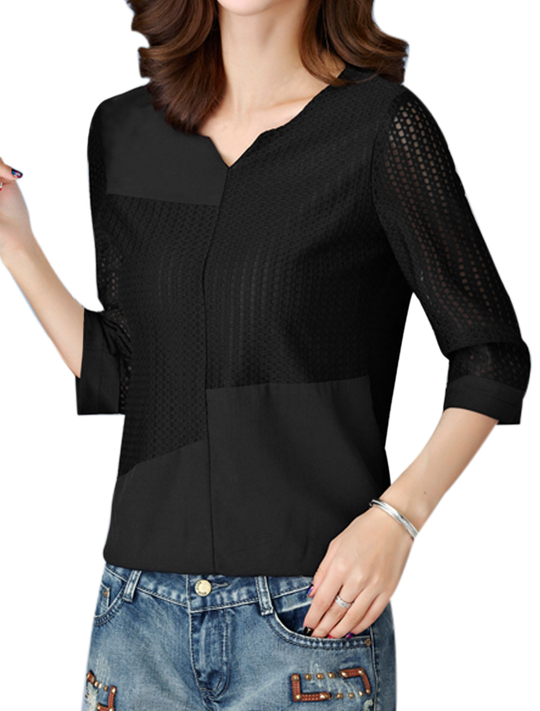 Women Split Neck 3/4 Sleeves Hollow Out Paneled Top Black M