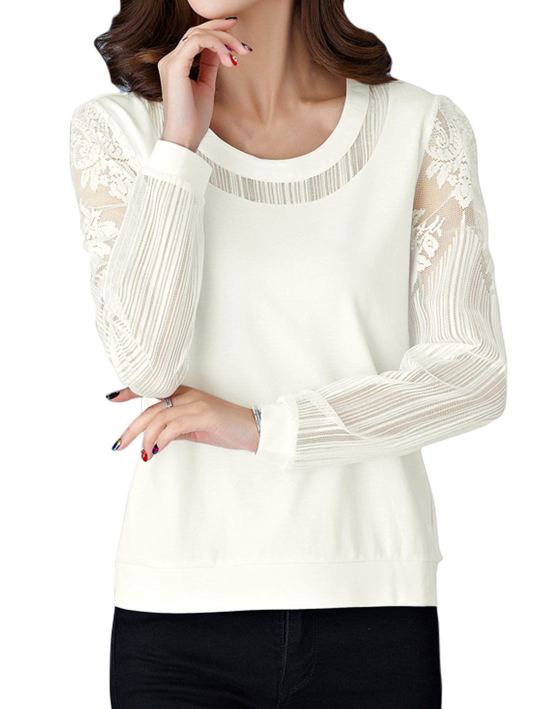 Women Scoop Neck See Through Long Sleeves Floral Lace Panel Top White M