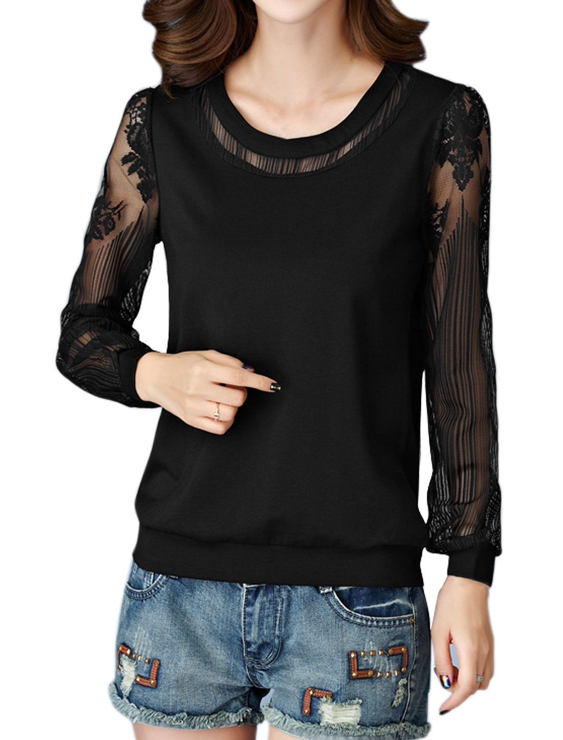 Women Scoop Neck See Through Long Sleeves Floral Lace Panel Top Black M