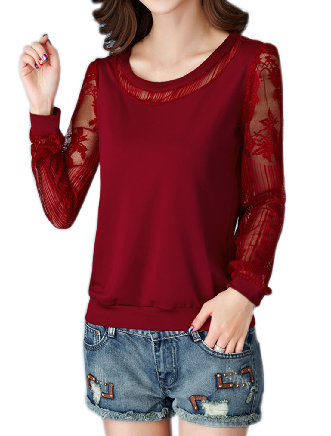 Women Scoop Neck See Through Long Sleeves Floral Lace Panel Top Red M