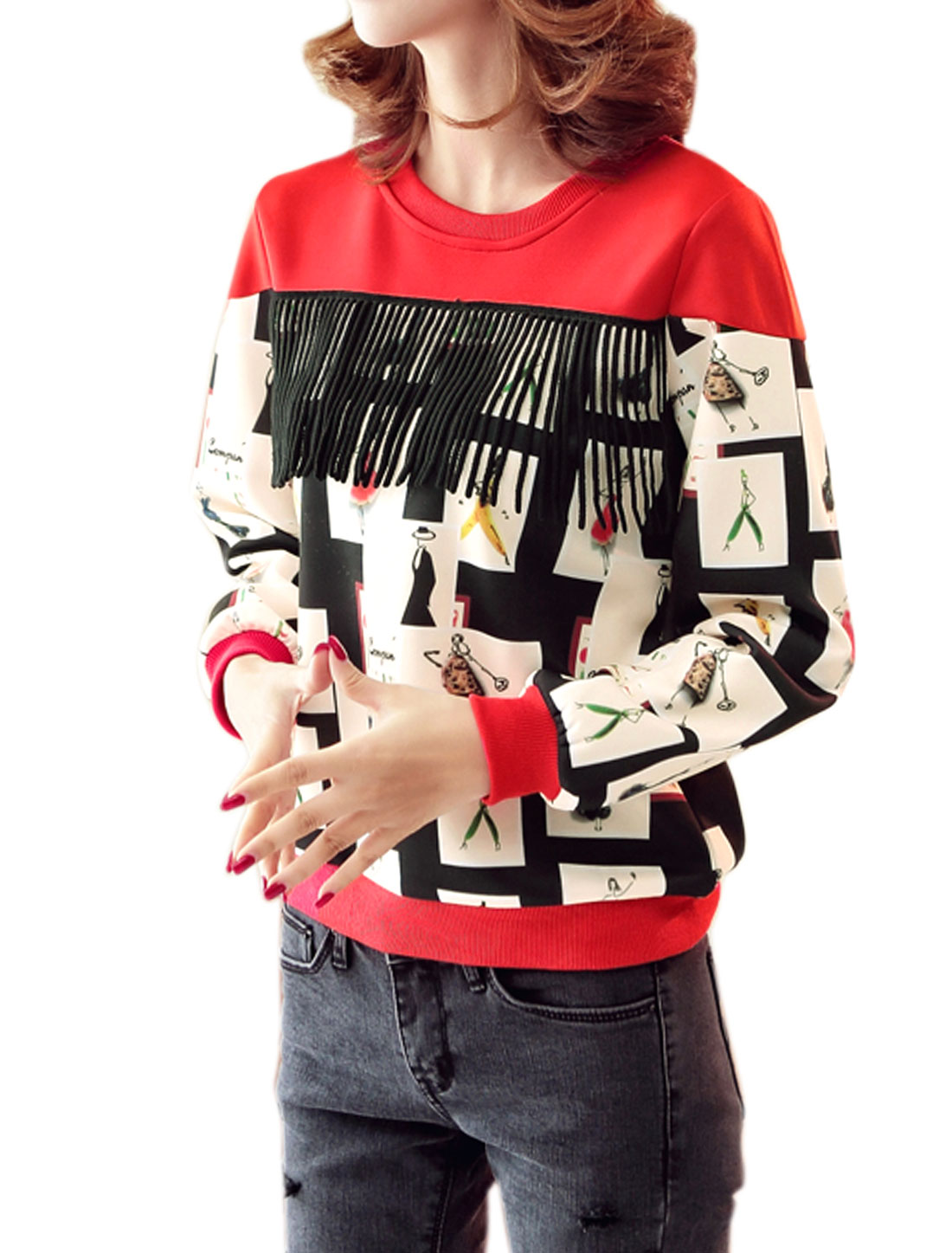 Women Crew Neck Long Sleeves Tassels Front Portrait Sweatshirt Red S