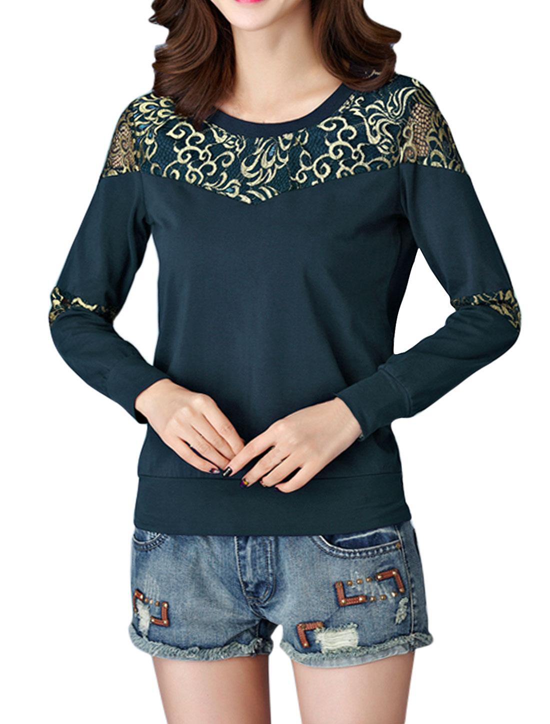 Women Long Sleeves Round Neck Lace Panel Paisleys T-shirt Blue M