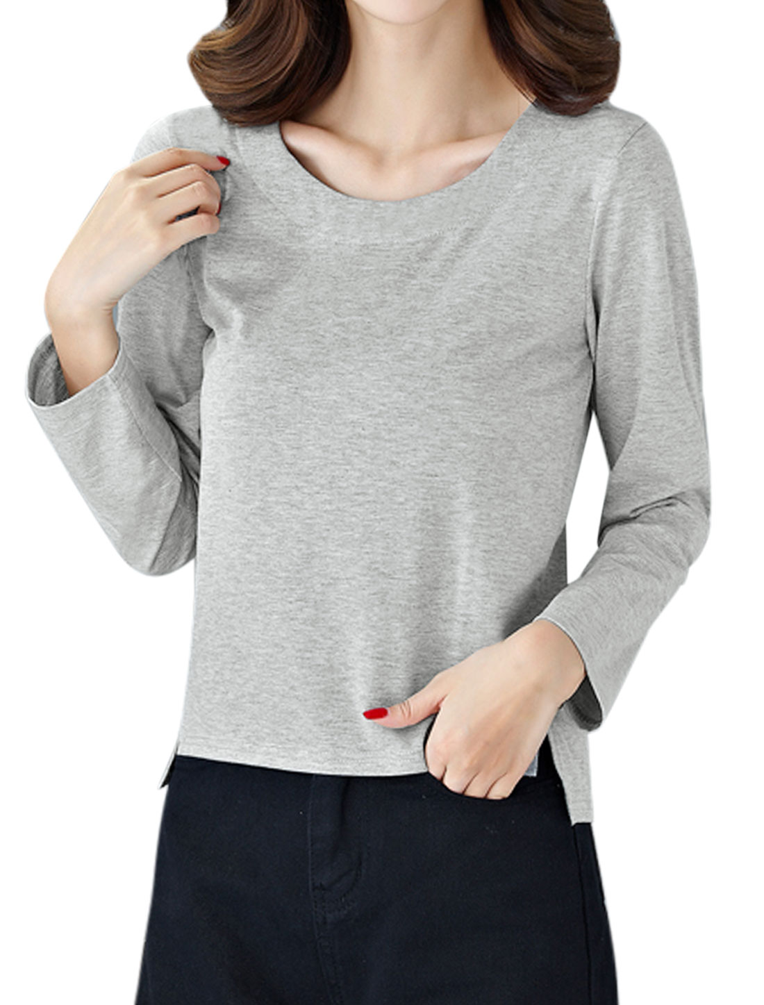 Women Round Neck Long Sleeves Split Sides T-shirt Gray S